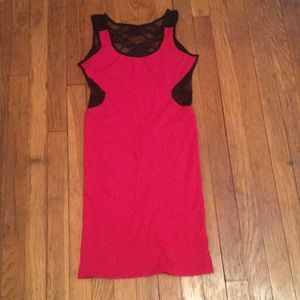 Bebe red lace backed dress
